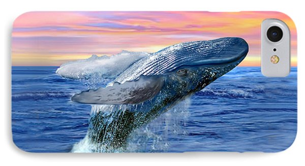 Humpback Whale Breaching At Sunset IPhone Case by Glenn Holbrook