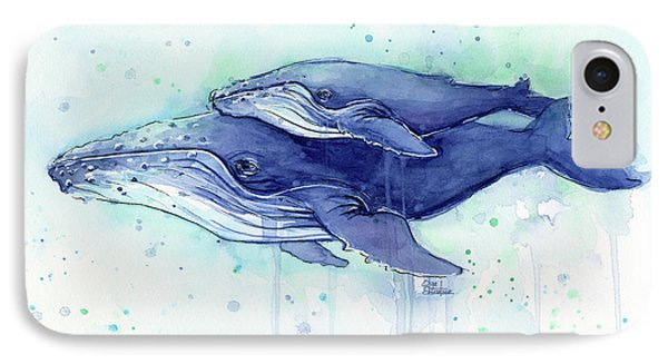 Humpback Whale Mom And Baby Watercolor IPhone Case by Olga Shvartsur
