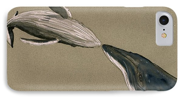 Humpback Whale Painting IPhone Case by Juan  Bosco