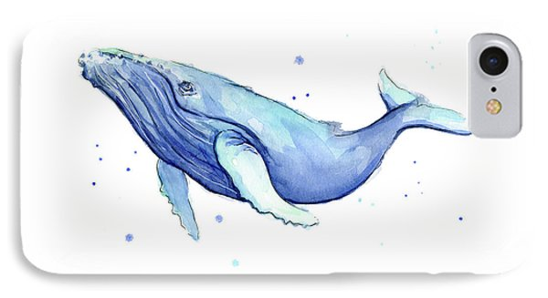 Humpback Whale Watercolor IPhone Case by Olga Shvartsur