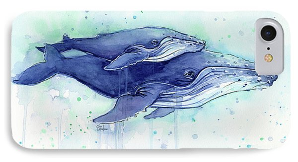 Humpback Whales Mom And Baby Watercolor Painting - Facing Right IPhone Case by Olga Shvartsur