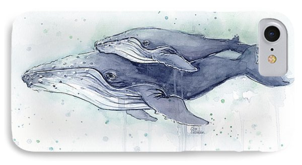 Humpback Whales Painting Watercolor - Grayish Version IPhone Case