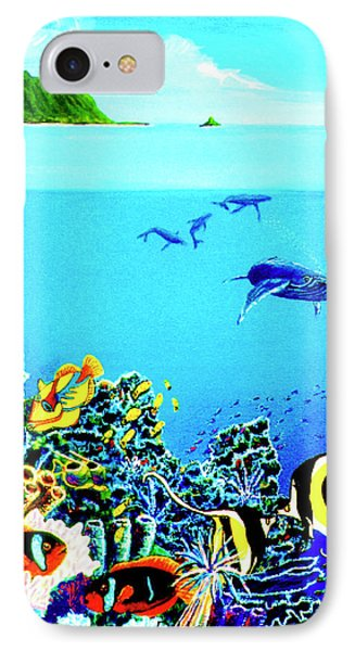 Humpback Whales, Reef Fish #252 Phone Case by Donald k Hall
