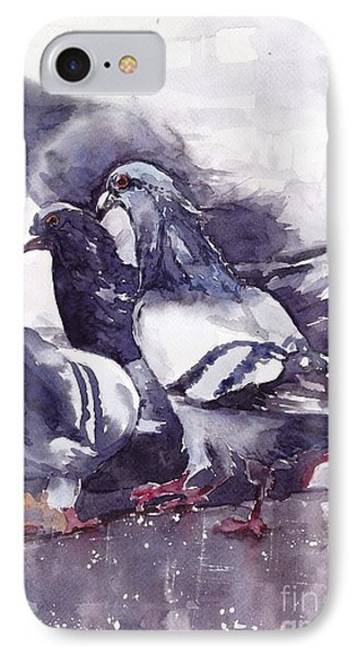 Sparrow iPhone 7 Case - Hungry Pigeons Watercolor by Suzann's Art