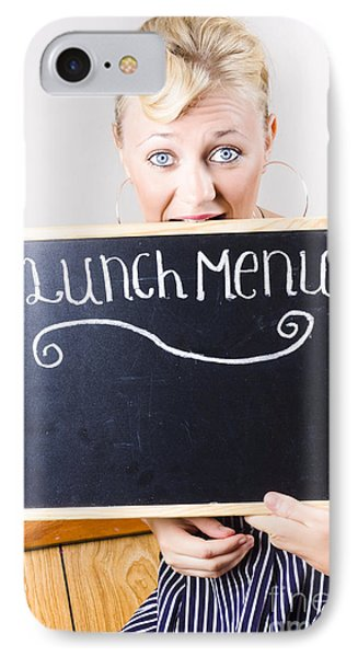 Hungry Woman Eating A Cafe Lunch Menu IPhone Case by Jorgo Photography - Wall Art Gallery