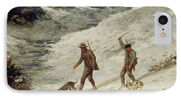 Hunters In The Snow Or The Poachers IPhone Case by Gustave Courbet