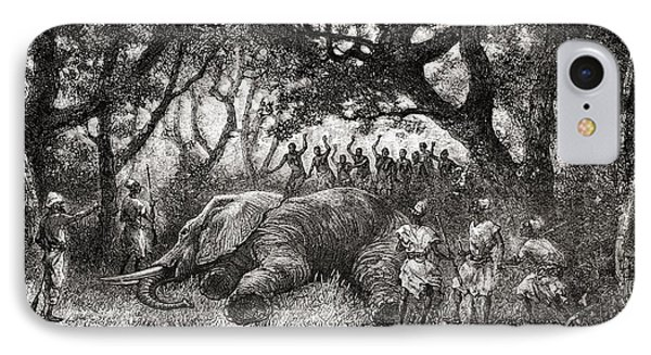 Hunting Elephants In Central Africa In IPhone Case by Vintage Design Pics