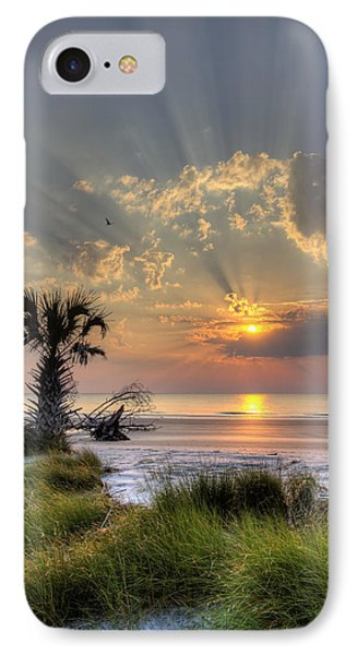 Hunting Island Sc Sunrise Palm IPhone Case