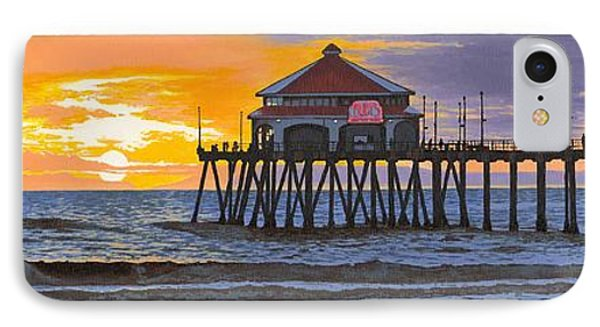 Huntington Pier Sunset IPhone Case by Andrew Palmer
