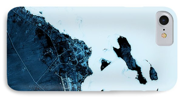 Hurghada Abstract City Map Top View Dark IPhone Case by Frank Ramspott