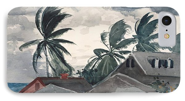 Hurricane In Bahamas IPhone Case by Winslow Homer