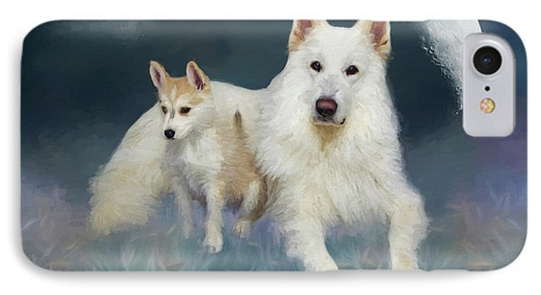 Huskies Under The Moon - Painted IPhone Case by Ericamaxine Price