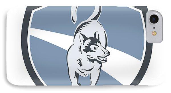 Husky Dog Crest Retro IPhone Case by Aloysius Patrimonio