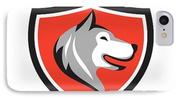 Husky Dog Head Shield Retro IPhone Case by Aloysius Patrimonio