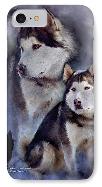 Husky - Night Spirit IPhone Case by Carol Cavalaris