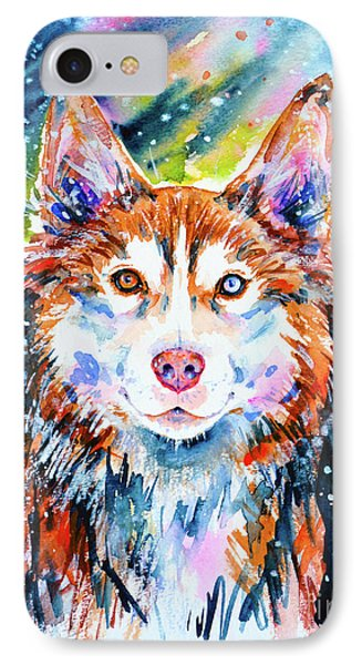 IPhone Case featuring the painting Husky by Zaira Dzhaubaeva