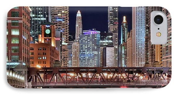 Hustle And Bustle Night Lights In Chicago IPhone Case by Frozen in Time Fine Art Photography