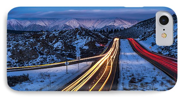 Hwy. 395 At Blue Hour IPhone Case by Cat Connor