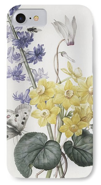 Hyacinth, Cyclamen And Narcissi IPhone Case by Pierre Joseph Redoute