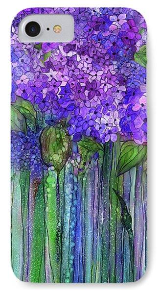 IPhone Case featuring the mixed media Hydrangea Bloomies 1 - Purple by Carol Cavalaris