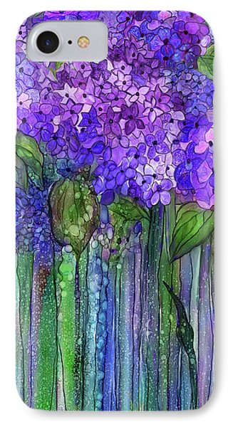 IPhone Case featuring the mixed media Hydrangea Bloomies 2 - Purple by Carol Cavalaris