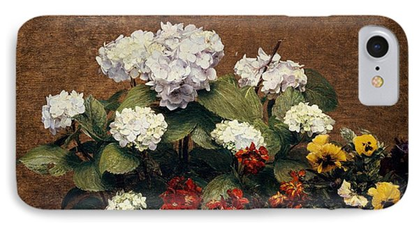 Hydrangeas And Wallflowers And Two Pots Of Pansies IPhone Case by Henri Jean Fantin-Latour