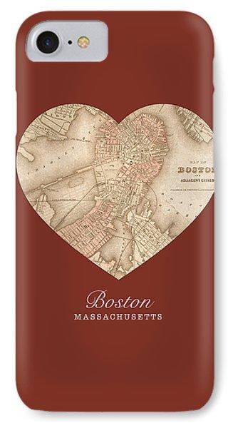I Heart Boston Massachusetts Vintage City Street Map Americana Series No 011 IPhone Case by Design Turnpike