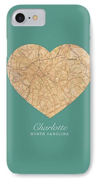 I Heart Charlotte North Carolina Vintage City Street Map Americana Series No 008 IPhone Case by Design Turnpike
