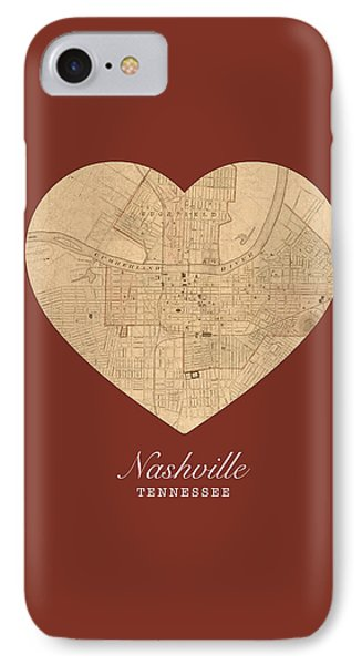 I Heart Nashville Tennessee Vintage City Street Map Americana Series No 010 IPhone Case by Design Turnpike
