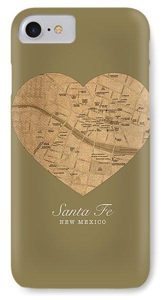 I Heart Santa Fe New Mexico Vintage City Street Map Americana Series No 027 IPhone Case