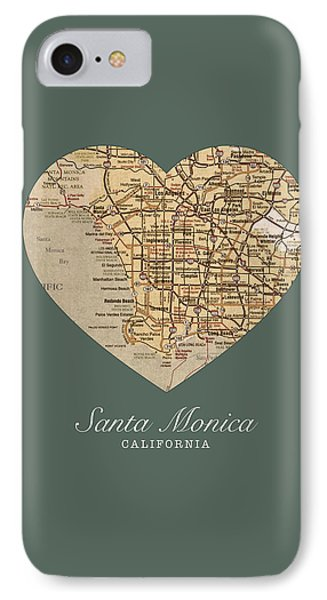 I Heart Santa Monica California Vintage City Street Map Americana Series No 020 IPhone Case