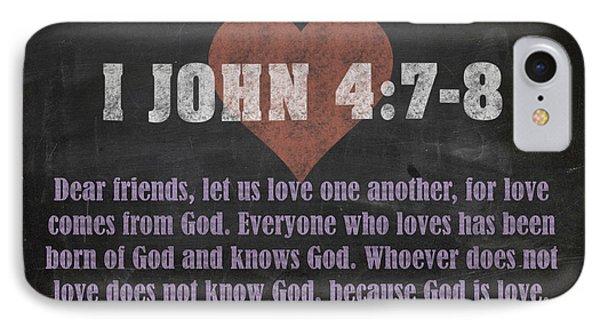 I John 4 7-8 Inspirational Quote Bible Verses On Chalkboard Art IPhone Case