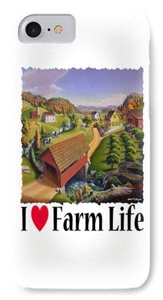 I Love Farm - Appalachian Covered Bridge - Rural Farm Landscape IPhone Case by Walt Curlee
