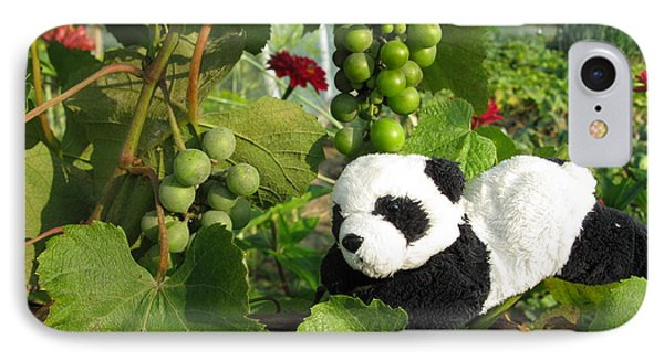 IPhone Case featuring the photograph I Love Grapes Says The Panda by Ausra Huntington nee Paulauskaite