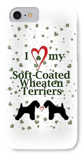 IPhone Case featuring the digital art I Love My Soft Coated Wheaten Terriers by Rebecca Cozart