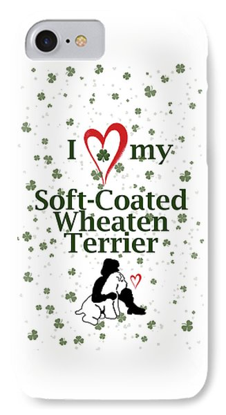 IPhone Case featuring the digital art I Love My Wheaten Terrier by Rebecca Cozart