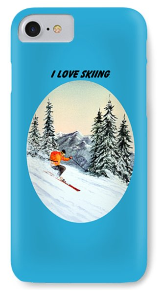 IPhone Case featuring the painting I Love Skiing  by Bill Holkham
