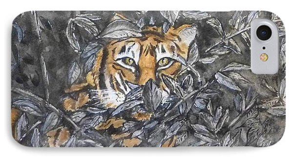 IPhone Case featuring the painting I See You... Orange Tiger by Kelly Mills