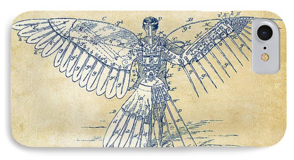 Icarus Human Flight Patent Artwork - Vintage IPhone Case by Nikki Smith