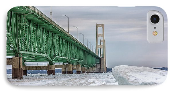IPhone Case featuring the photograph Ice And Mackinac Bridge  by John McGraw