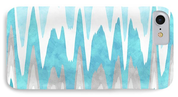 IPhone Case featuring the mixed media Ice Blue Abstract by Christina Rollo