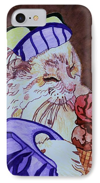 Ice Cream Kitty IPhone Case by Connie Valasco
