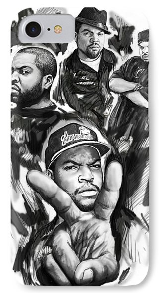 Ice Cube Blackwhite Group Art Drawing Poster IPhone Case by Kim Wang