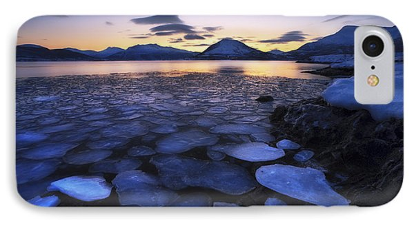 Ice Flakes Drifting Against The Sunset Phone Case by Arild Heitmann