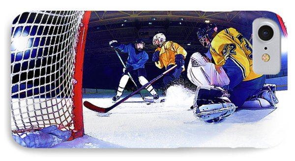 Ice Hockey Battle Through The Cage IPhone Case by Elaine Plesser