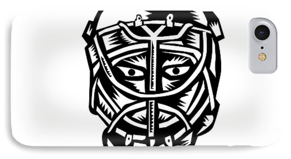 Ice Hockey Goalie Helmet Woodcut IPhone Case