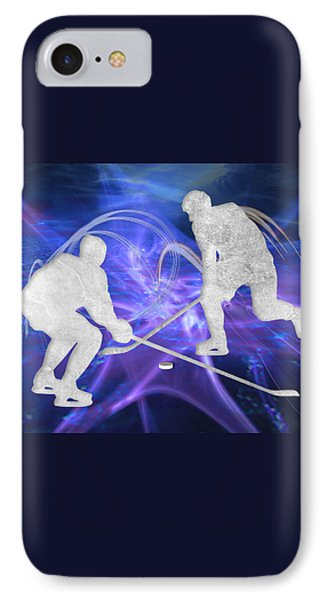 Ice Hockey Players Fighting For The Puck IPhone Case
