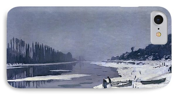 Ice On The Seine At Bougival Phone Case by Claude Monet