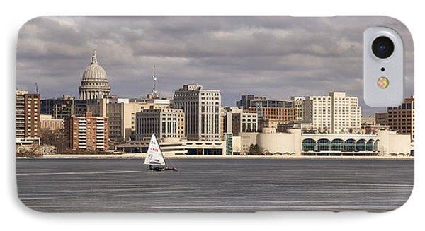 Ice Sailing - Lake Monona - Madison - Wisconsin IPhone Case by Steven Ralser