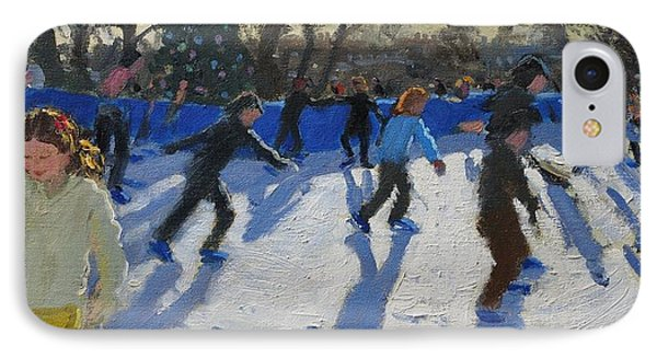 Ice Skaters At Christmas Fayre In Hyde Park  London IPhone 7 Case by Andrew Macara